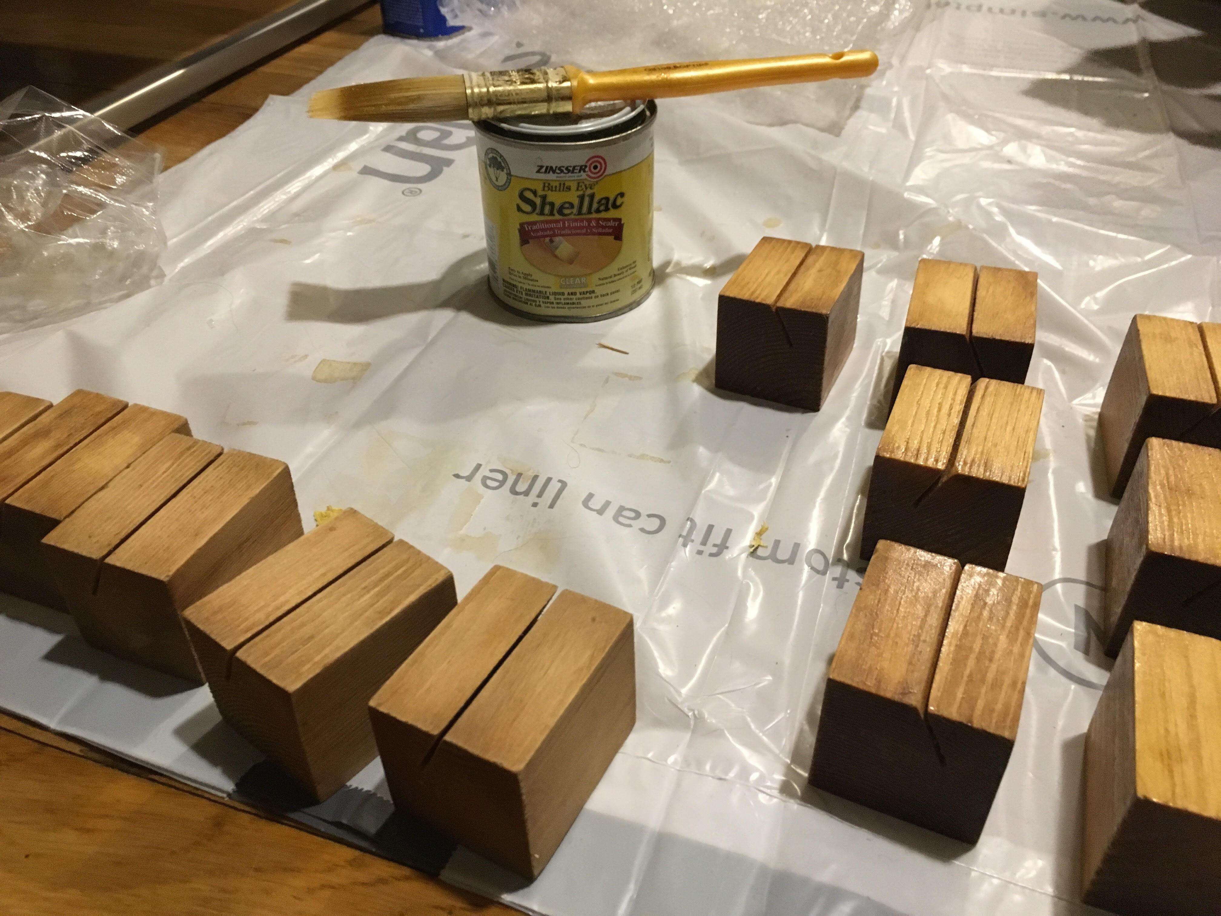 Sanding and staining wooden blocks